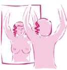 Breast exam in mirror